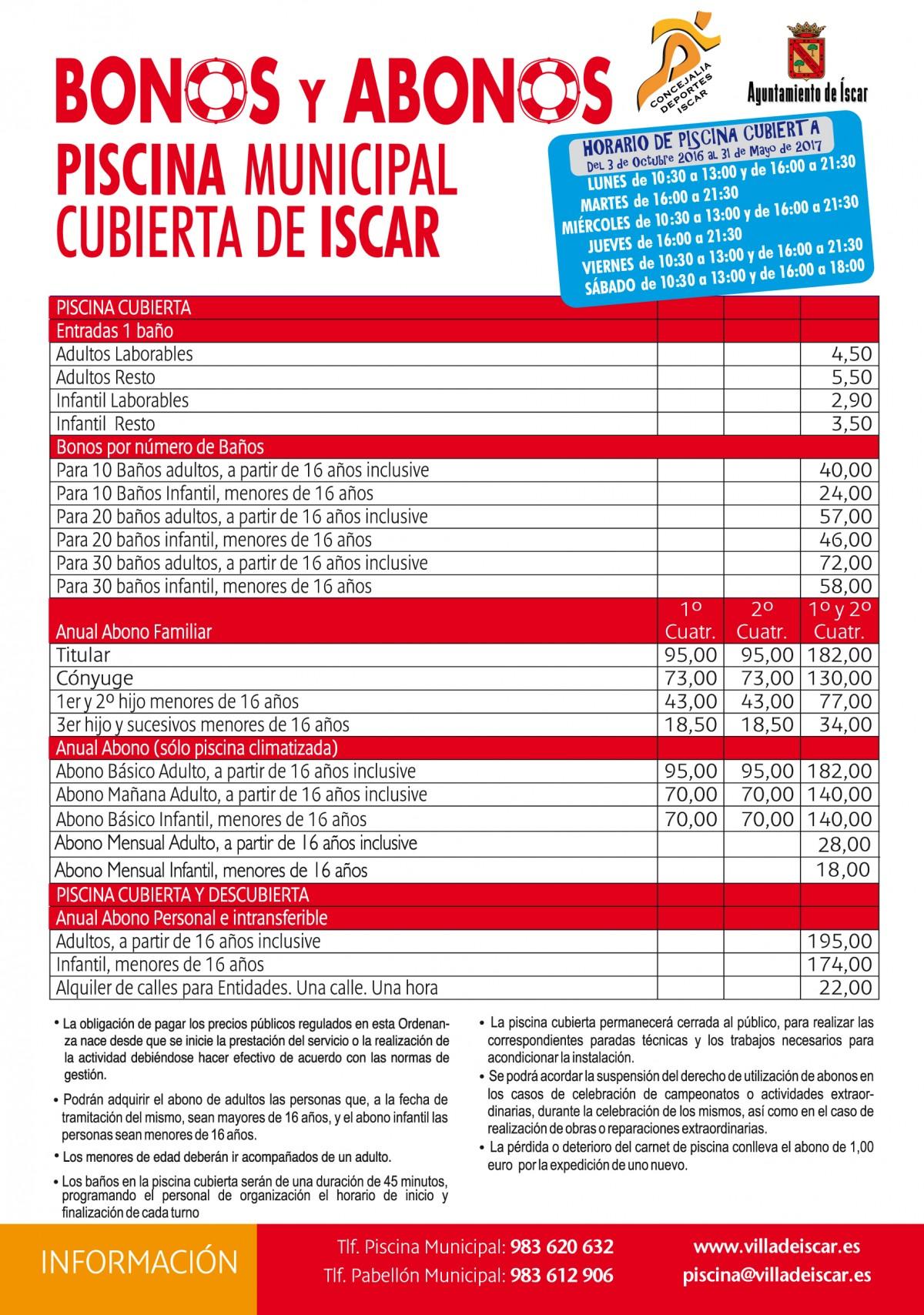 Precios de bonos y abonos piscina cubierta villa de scar for Horario piscina alaquas